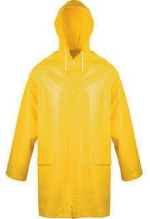 PVC-Regenjacke Gr. 1, gelb, mit Kapuze, 90 cm lang
