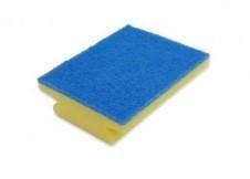 Bäderputzer Scheuerschwamm gelb mit blauem Pad